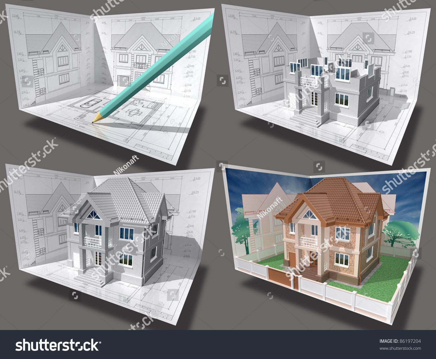 cottage under construction  3d isometric view of