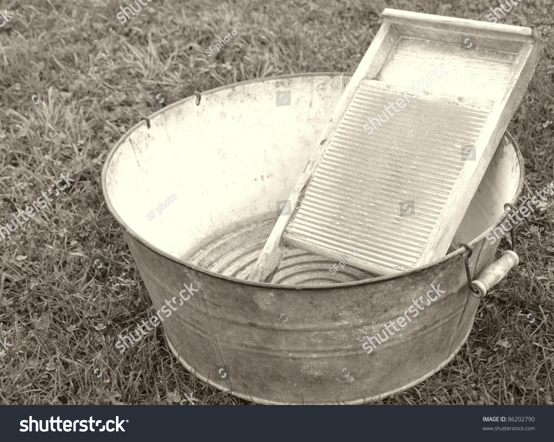 Washboard And Tub : old fashioned laundry equipment washboard tub stock photo 86202790 shutterstock ~ Russianpoet.info Haus und Dekorationen