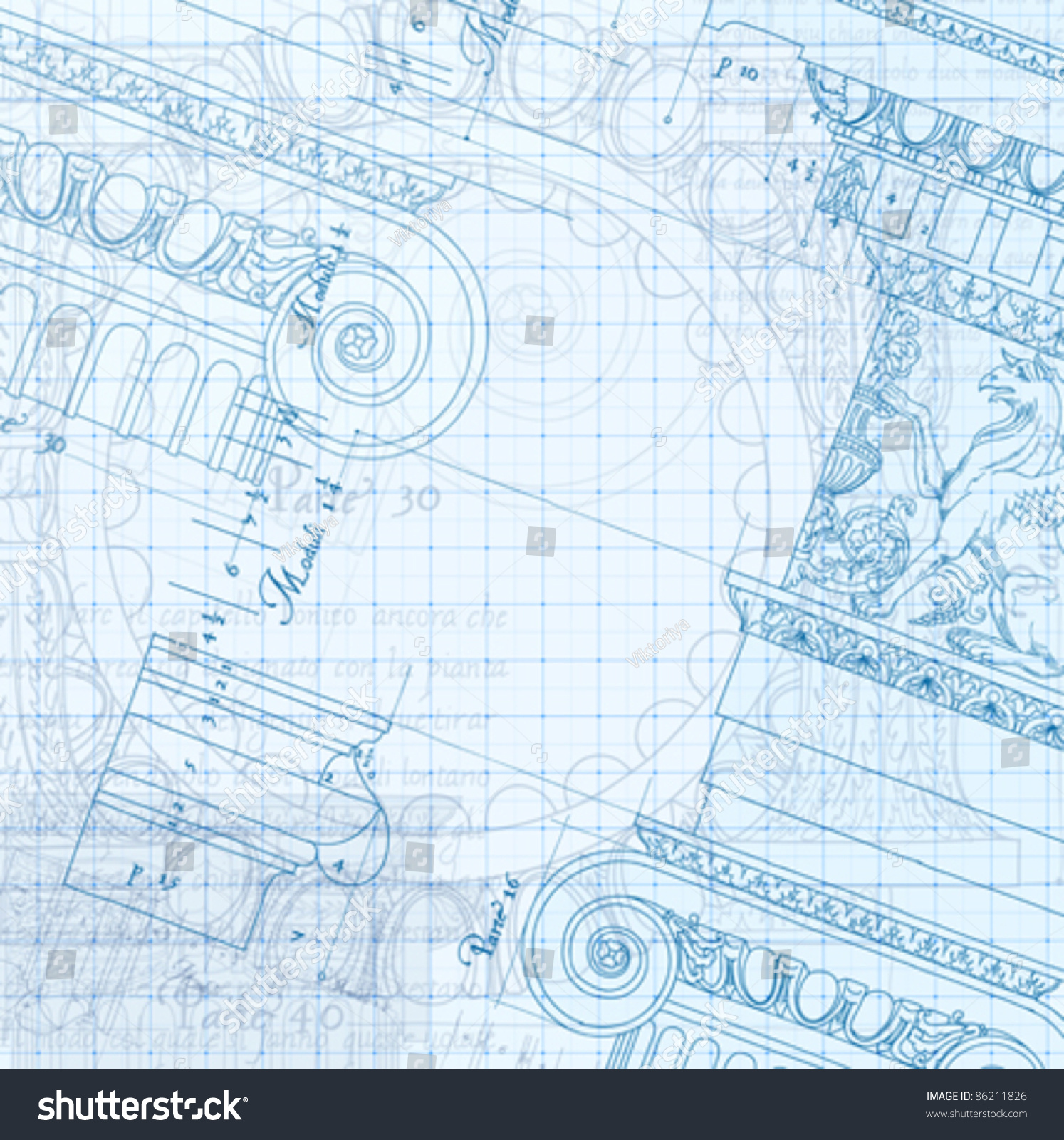 Architecture blueprint hand draw sketch ionic vectores en stock architecture blueprint hand draw sketch ionic architectural order based the five orders of architecture malvernweather Images