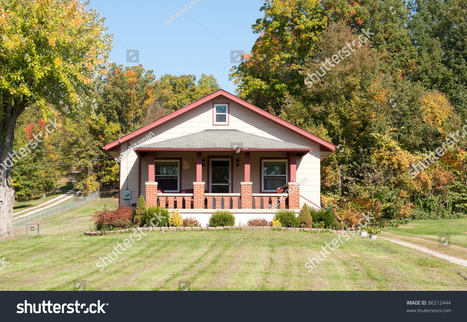 A 1930s Craftsman Style House In The Country In Autumn. Stock Photo 86212444 : Shutterstock