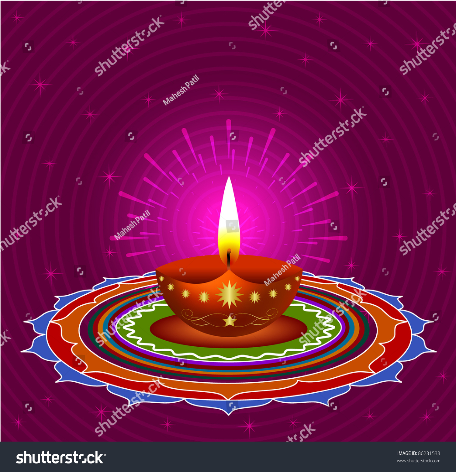 glowing diwali lamps on decorative background eps10 vector - Decorative Lamps