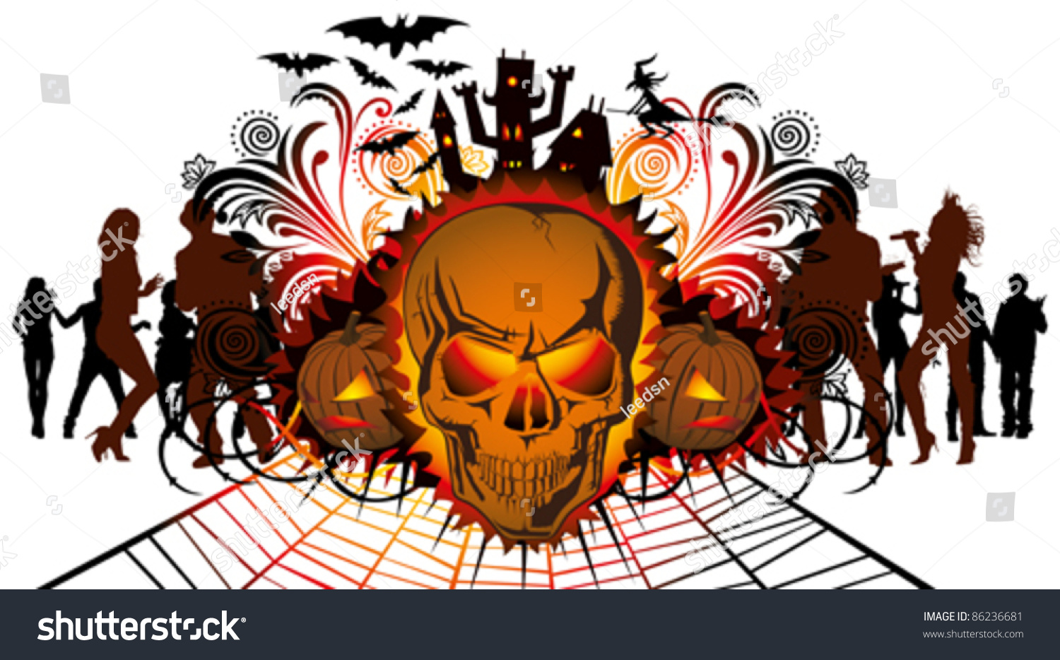vector angry halloween skull and dancing people silhouette - Dancing Halloween