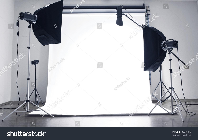 Empty Photo Studio Lighting Equipment Stock Photo 86246848