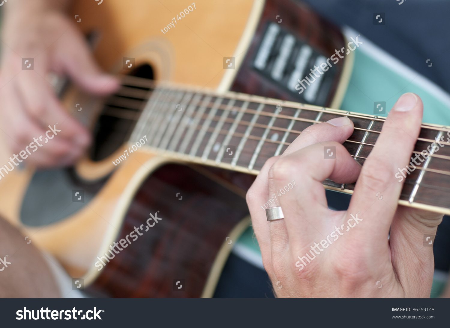 Guitar Player Taking Chord On His Stock Photo Edit Now 86259148