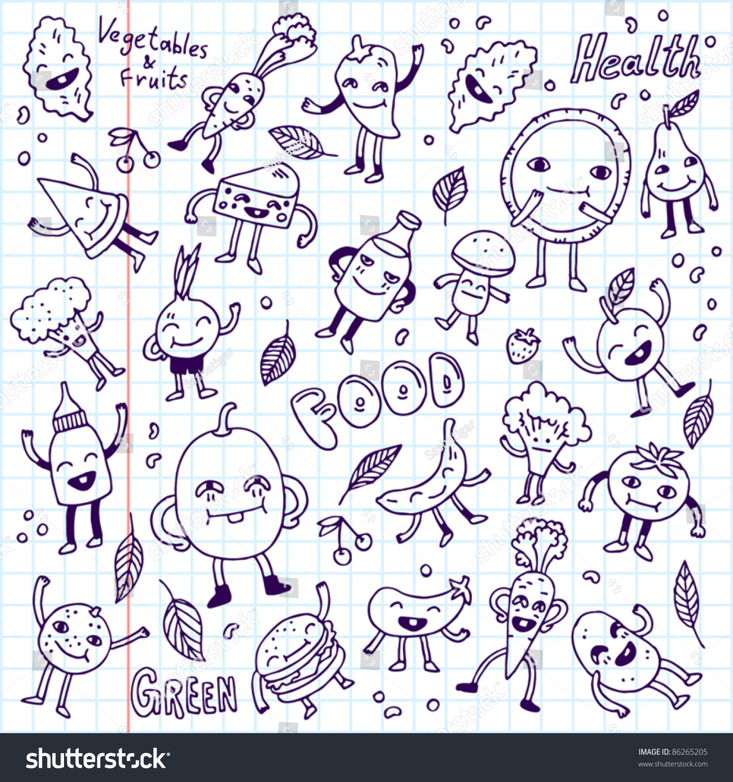 Doodle Funny Food Set School Notebook. Vector Illustration ...