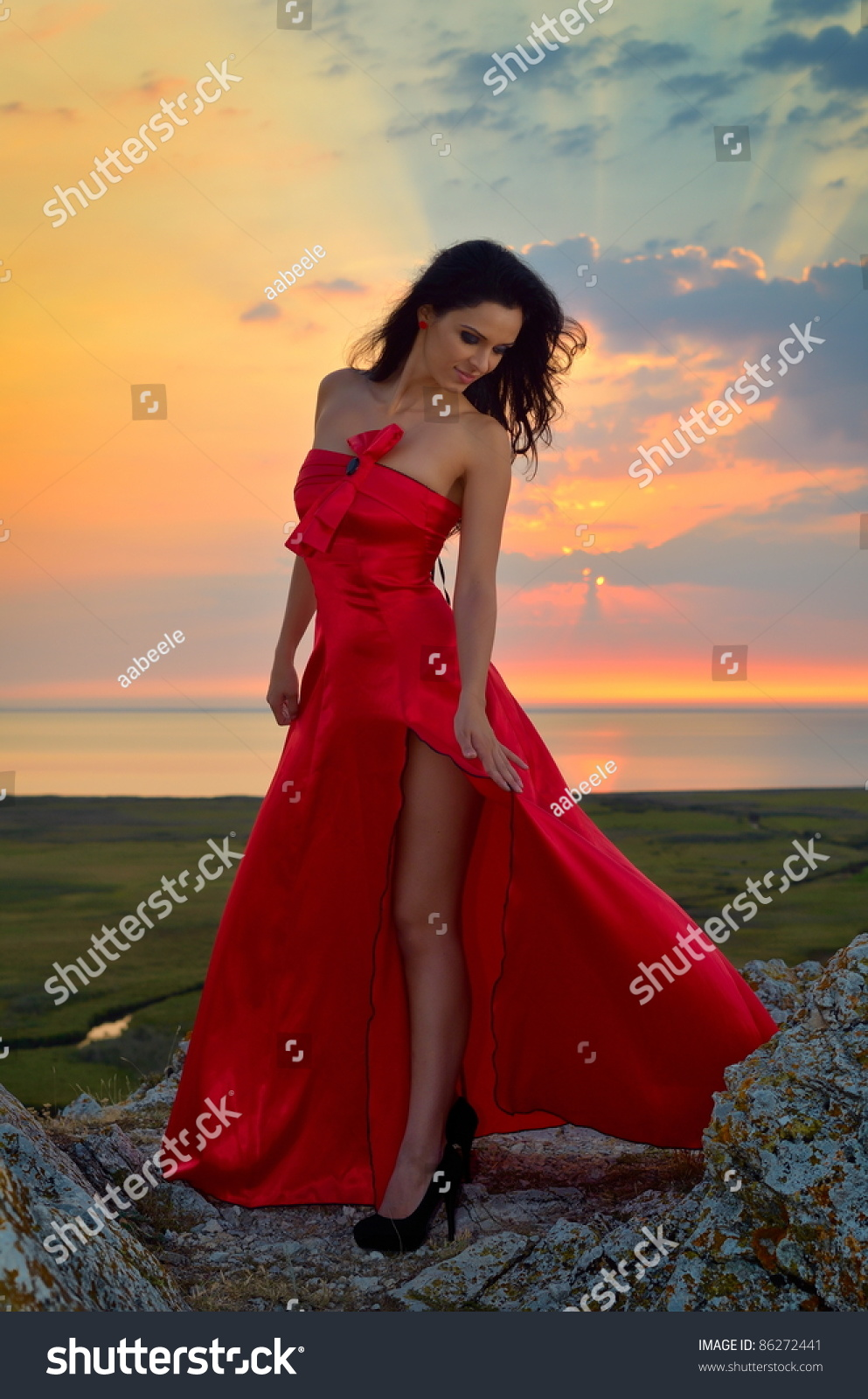 Beautiful Woman At Sunset/Sunrise Stock Photo 86272441 ...