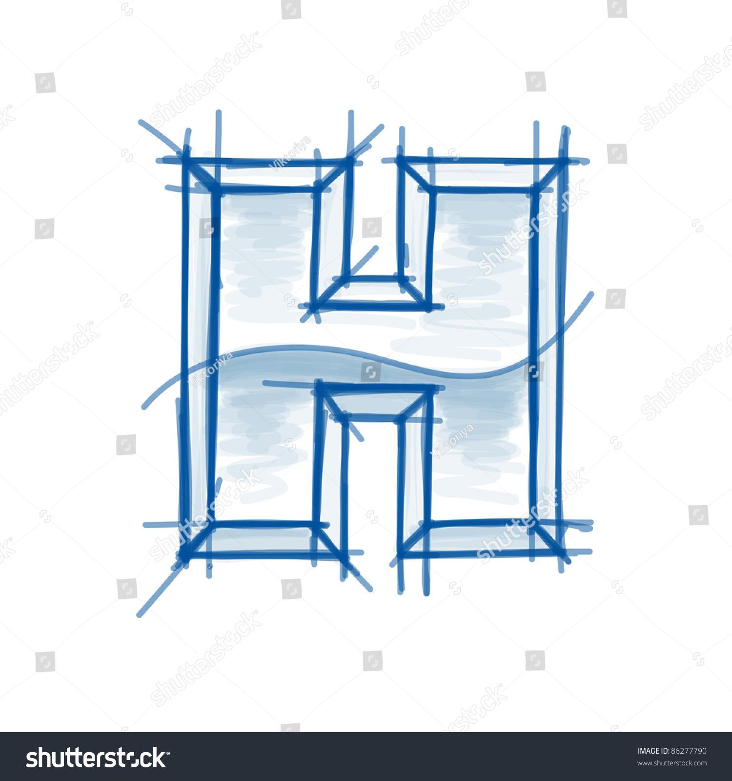 Blueprint font sketch letter h marker stock vector 86277790 blueprint font sketch letter h marker drawing malvernweather Gallery