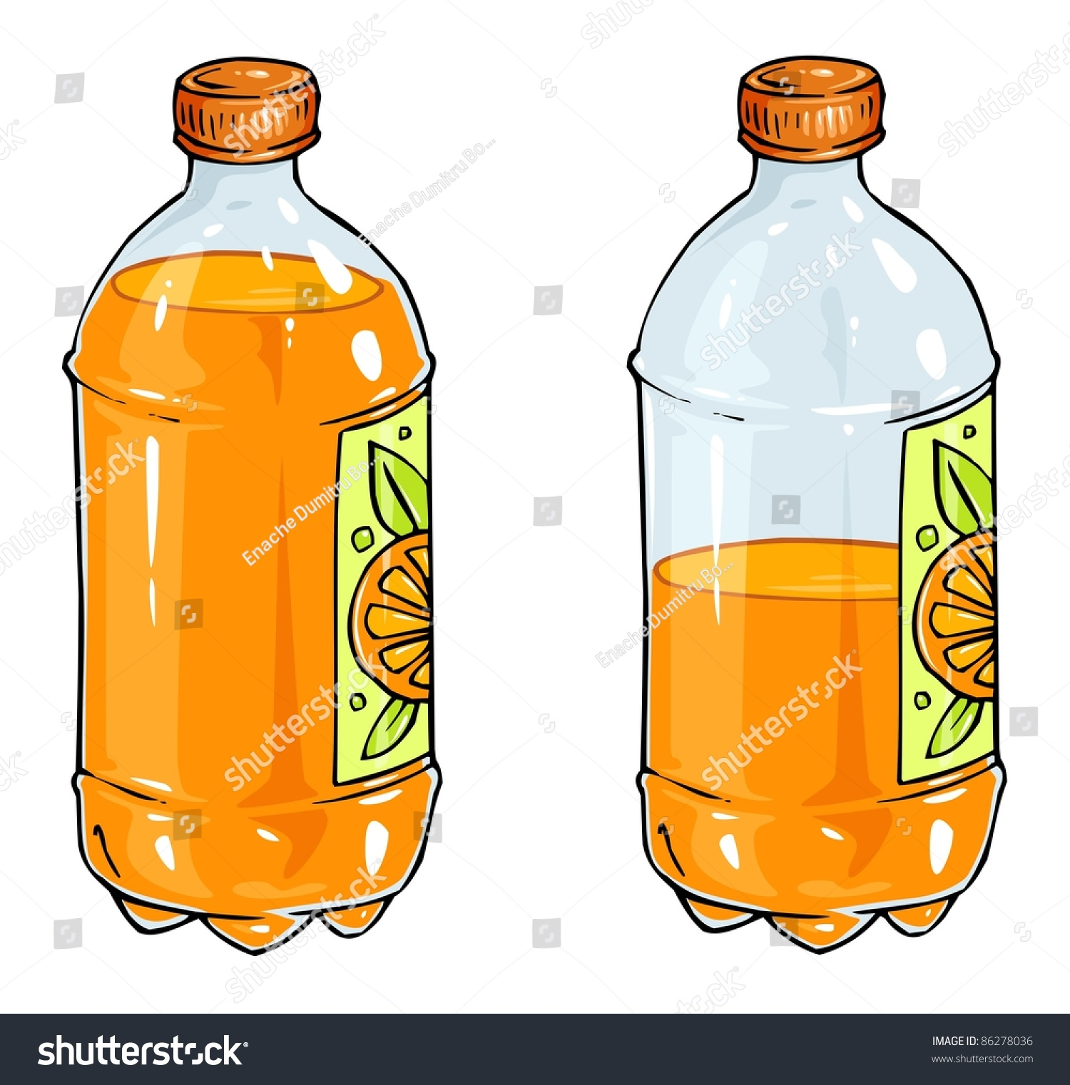 Orange Juice Bottle Stock Vector 86278036 - Shutterstock