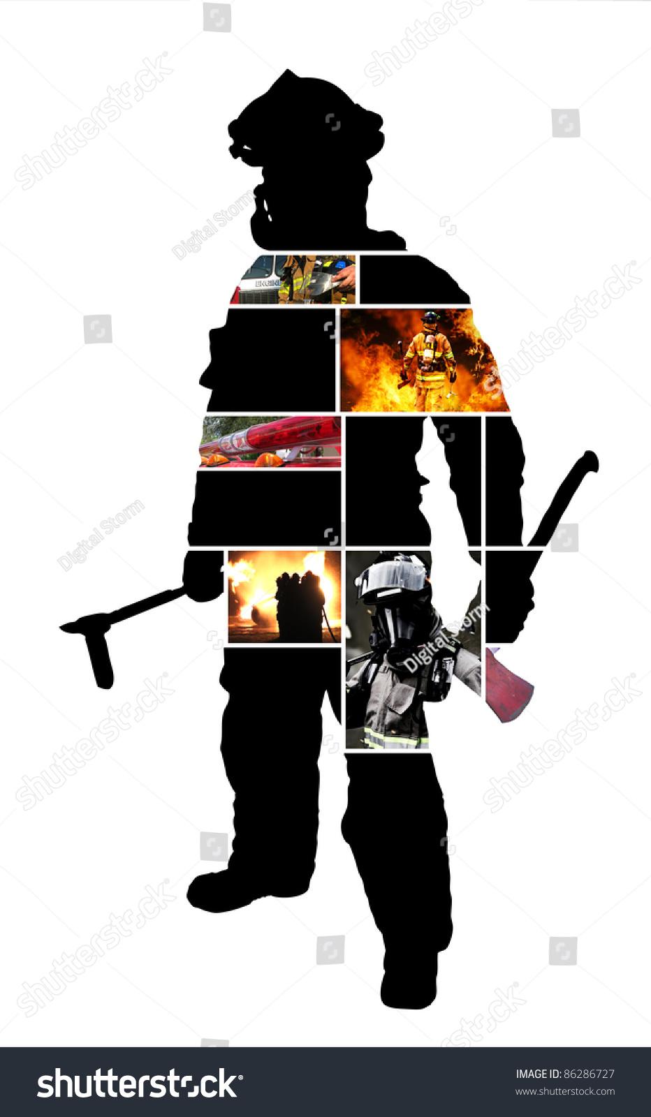 firefighter scenes silhouette posing firefighter on stock photo