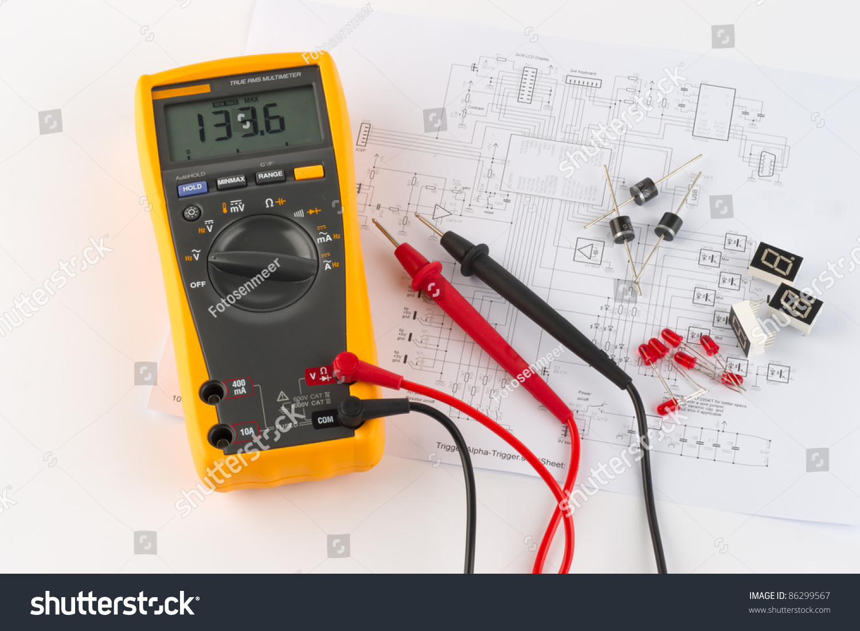 True Rms Multimeter Circuit Diagram Stock Photo Edit Now 86299567 Voltmeter A And
