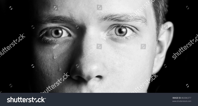 Mens Eyes Crying Part Face Stock Photo 86306377