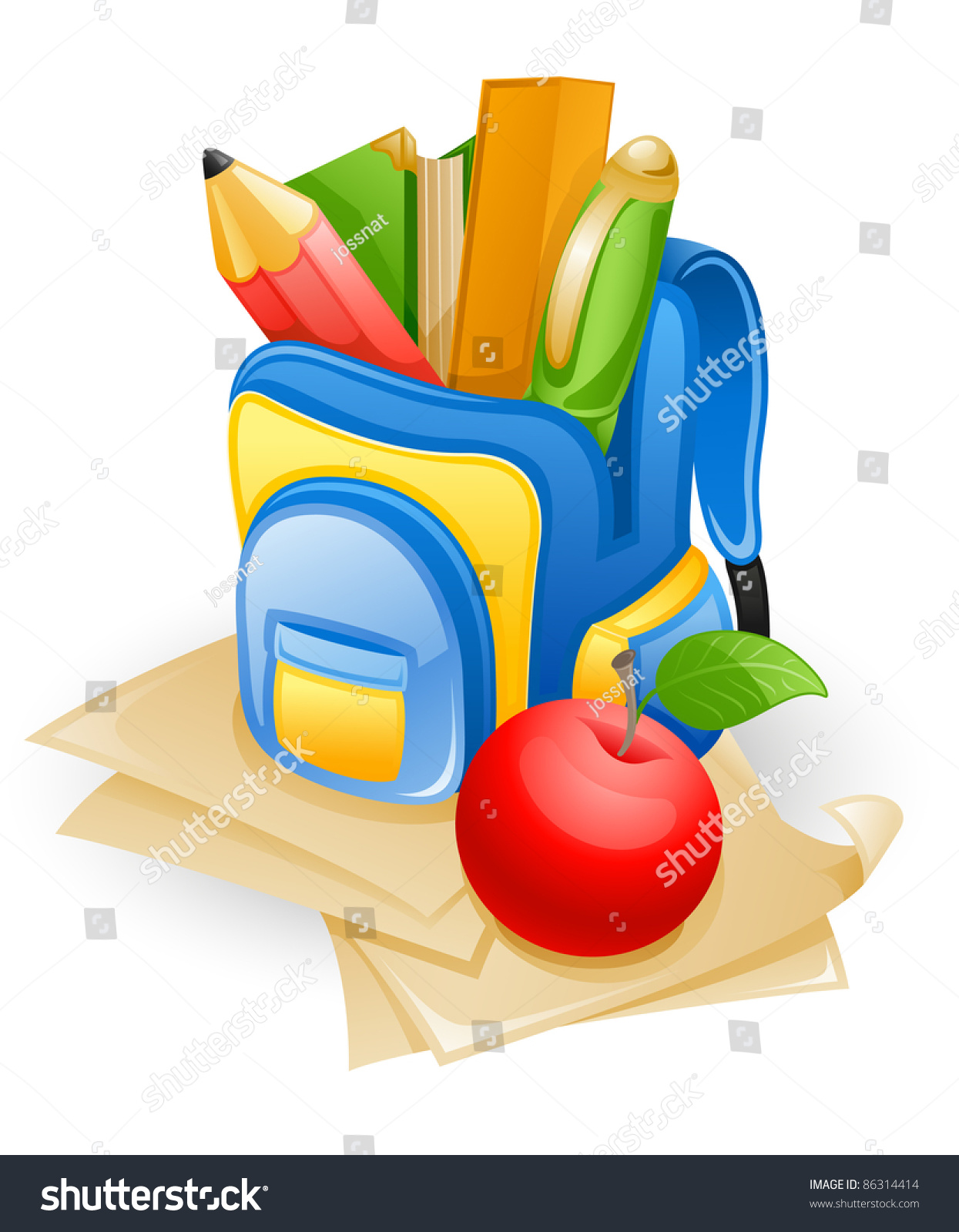 School bag diagram - School Bag Pencil Book Pen Ruler And Apple On Paper