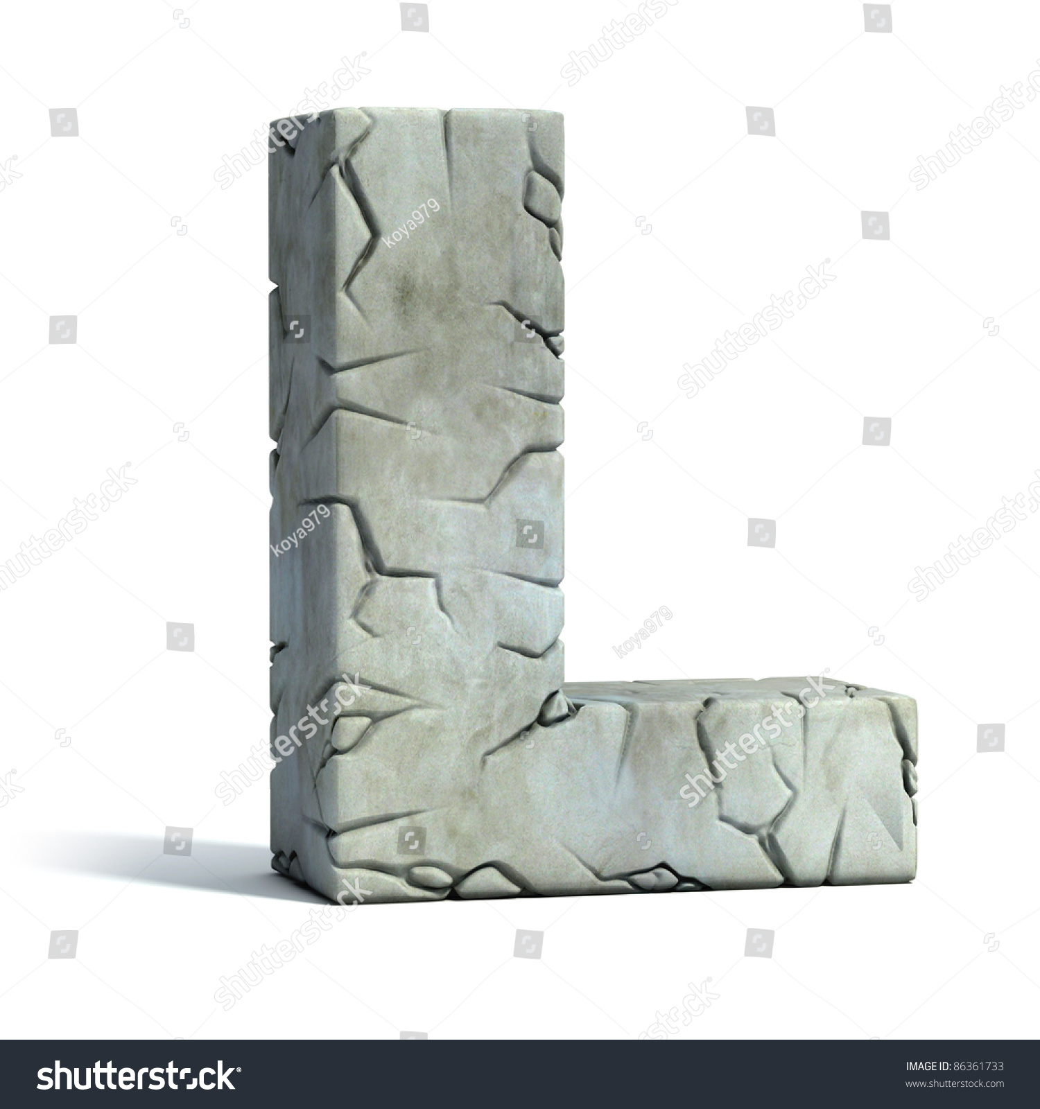 Q Stone Inc Stock Photo Letter L Cracked Stone D Font
