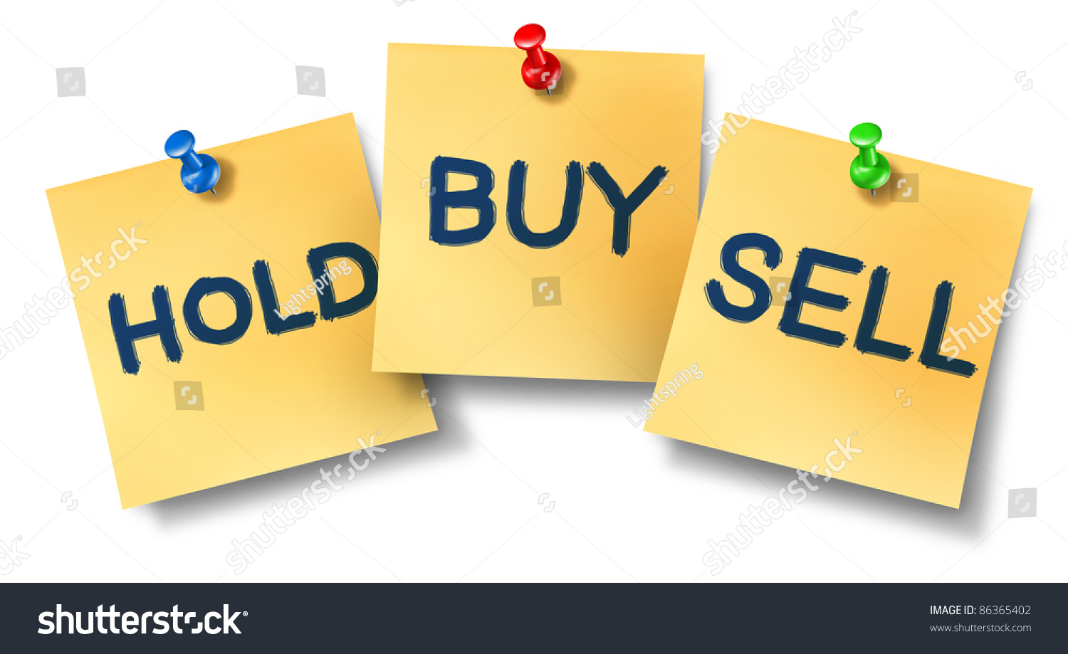 Buy Sell Hold Office Notes Representing The Stock Market Exchange Trading  Concept For Wall Street Brokers