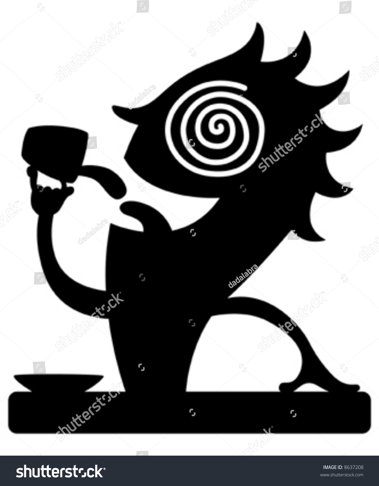 Silhouette Cartoon Caffeine Character Drinking Coffee Stock Vector ...