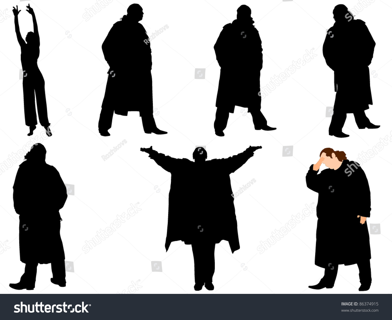 a collection of silhouettes of men in trench coat vector