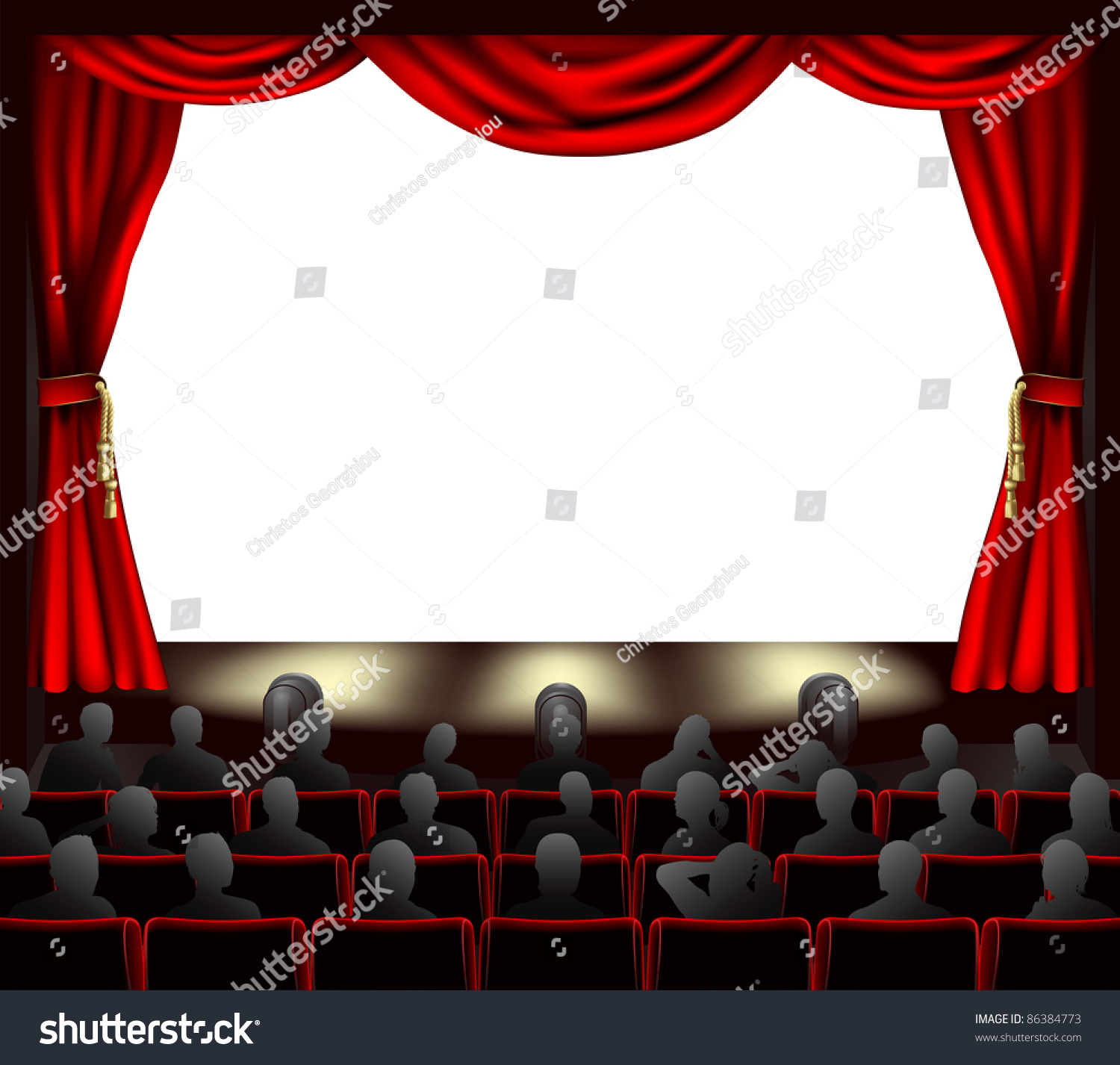Cinema with curtains and audience space to place anything on stage