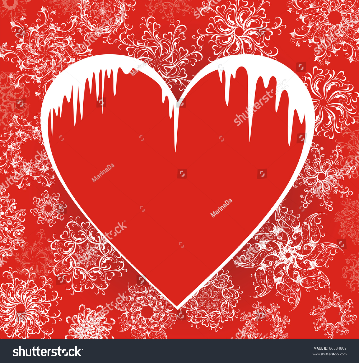 Christmas love winter banners heart icicles stock vector