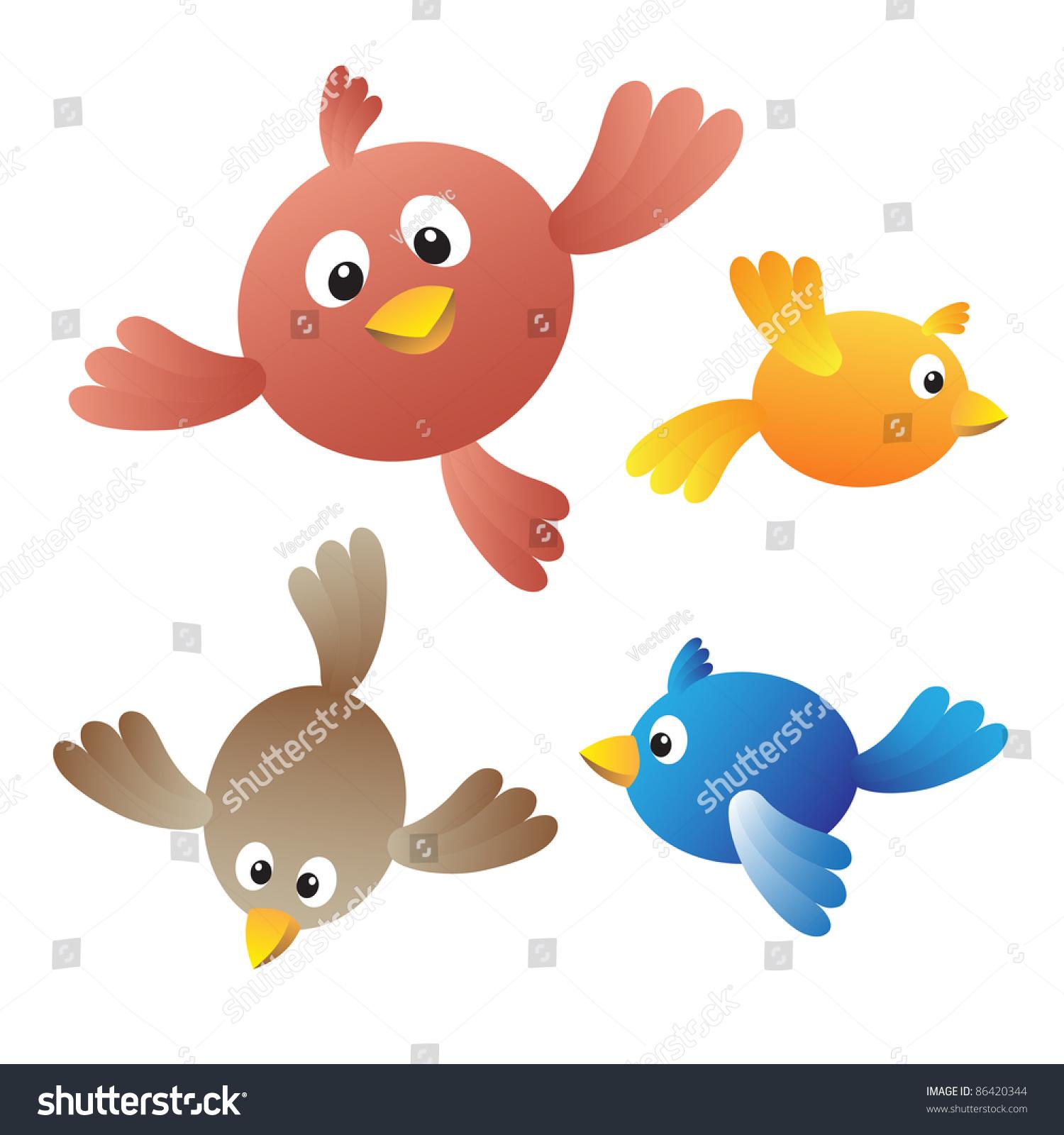 Stock Vector Flying Birds On White Background