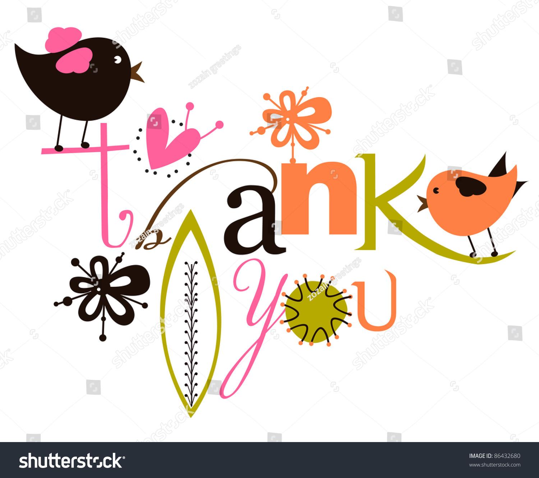 cute thank you script card stock vector shutterstock cute thank you script card