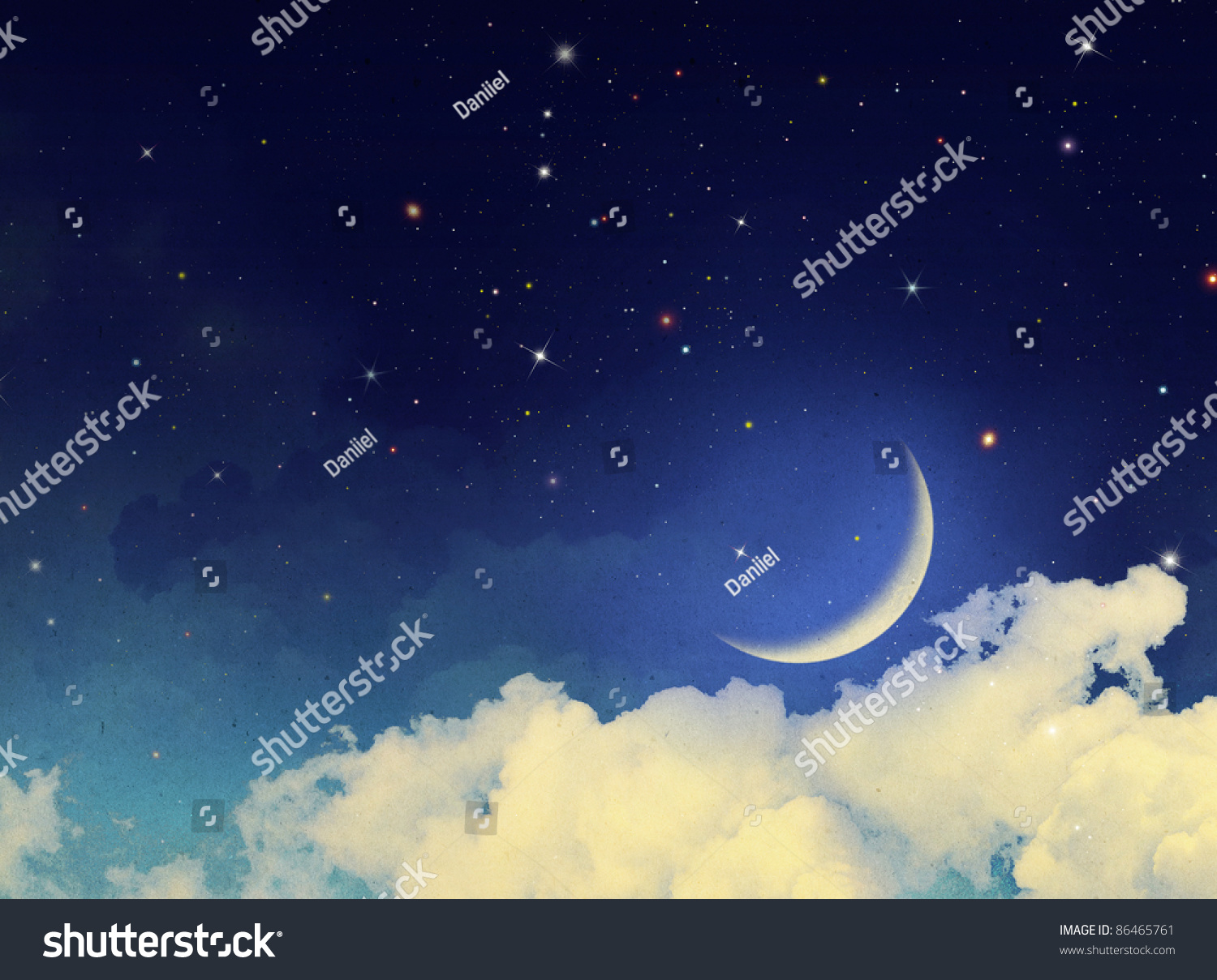 Watercolor Vintage Background Fantasy Clouds Stars Stock ...