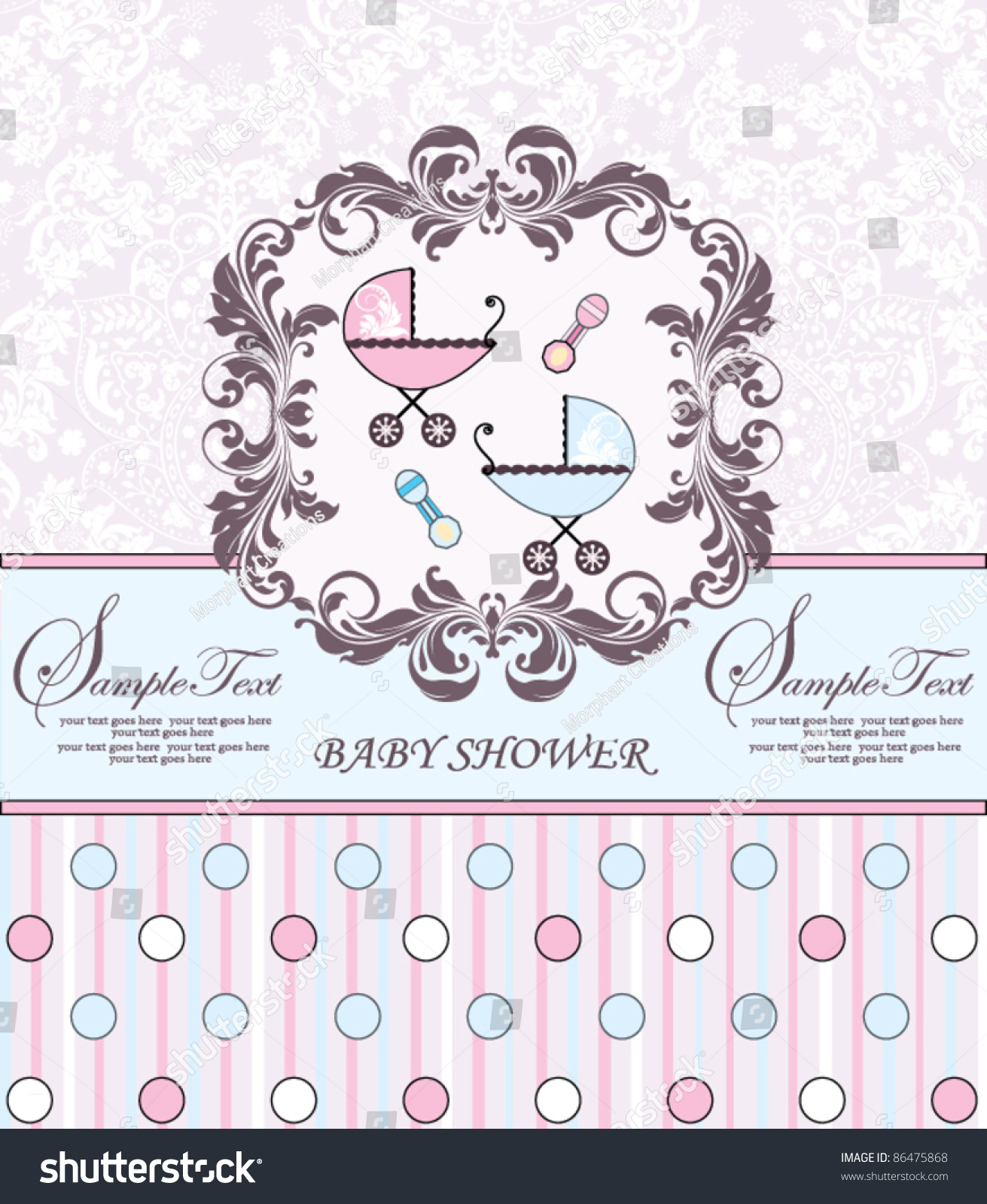 Twins Baby Shower Invitation Stock Vector Shutterstock