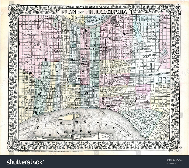 1870 Antique Map Philadelphia Stock Photo 864880 Shutterstock