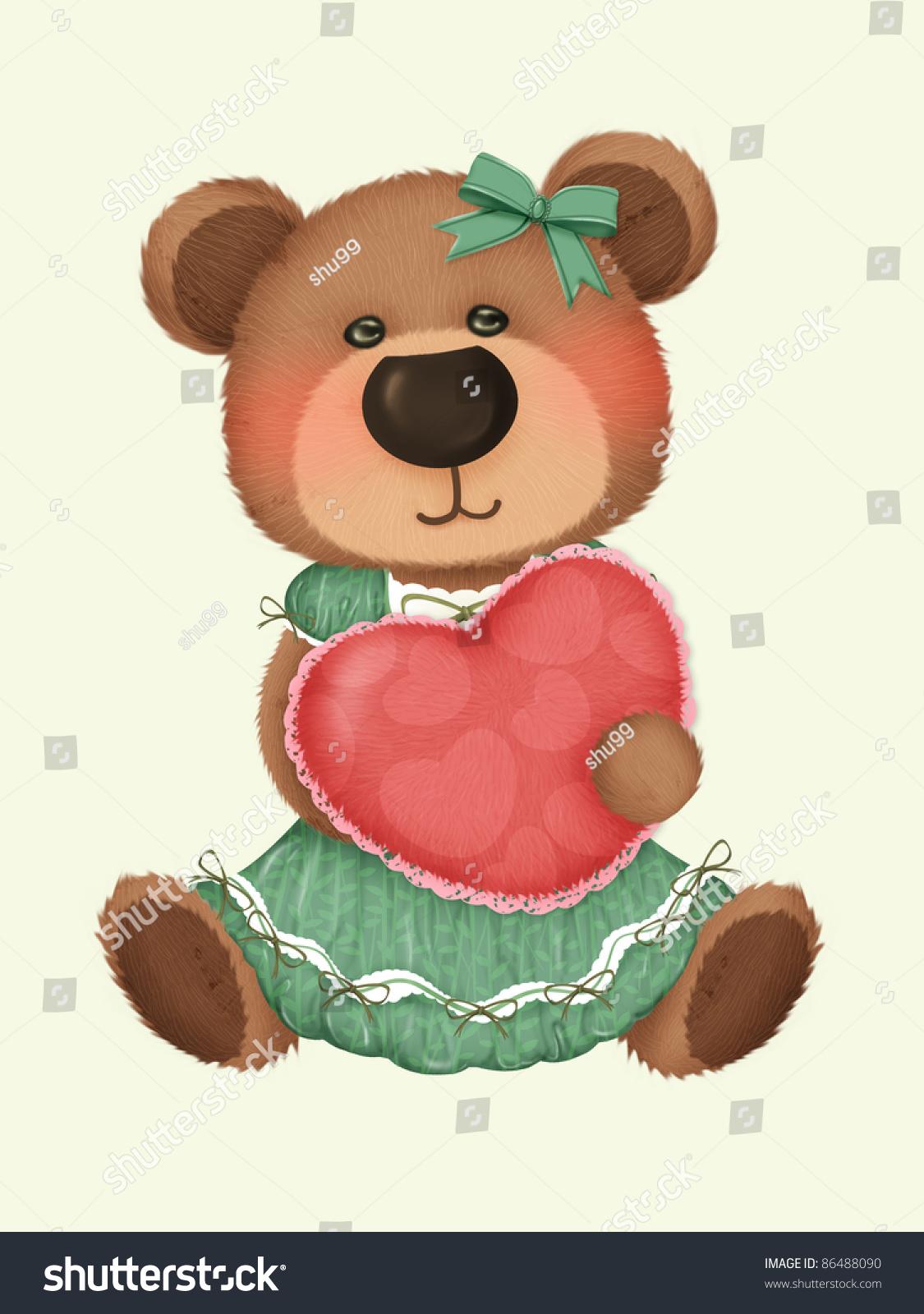 Cute Bear With Heart Pillow : Cute Bear Heart Pillow Stock Illustration 86488090 - Shutterstock