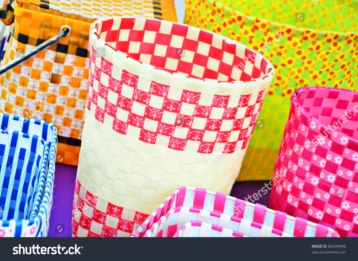 Various Color Plastic Basket Home Decoration Stock Photo 86494498 Shutterstock