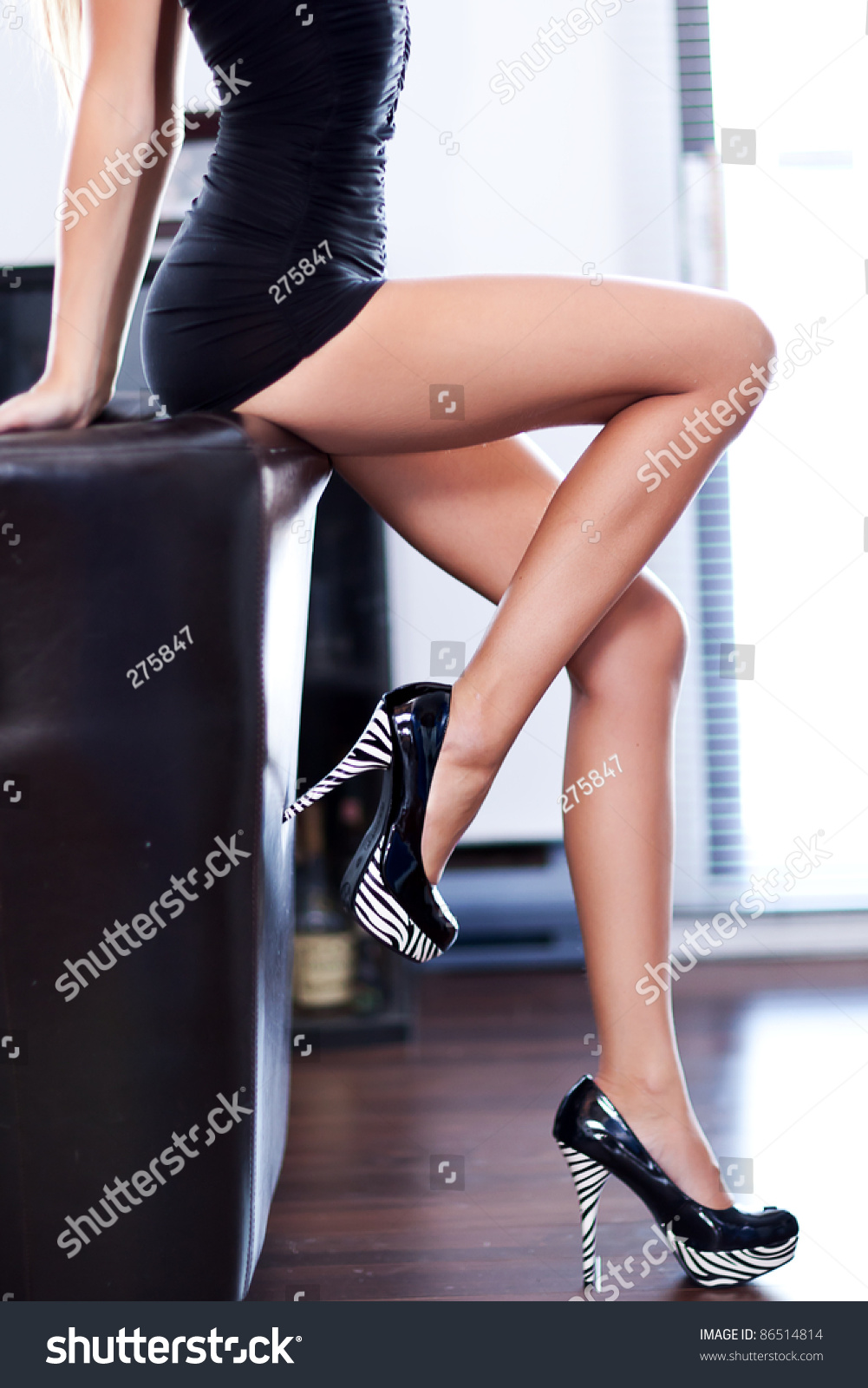 Women Beautiful Long Legs Sitting Stock Photo (Edit Now) 86514814 ... da3e0a482