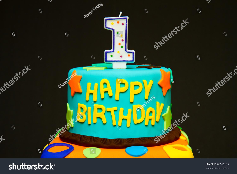 Happy First Birthday Fondant Cake On Stock Photo Edit Now 86516185