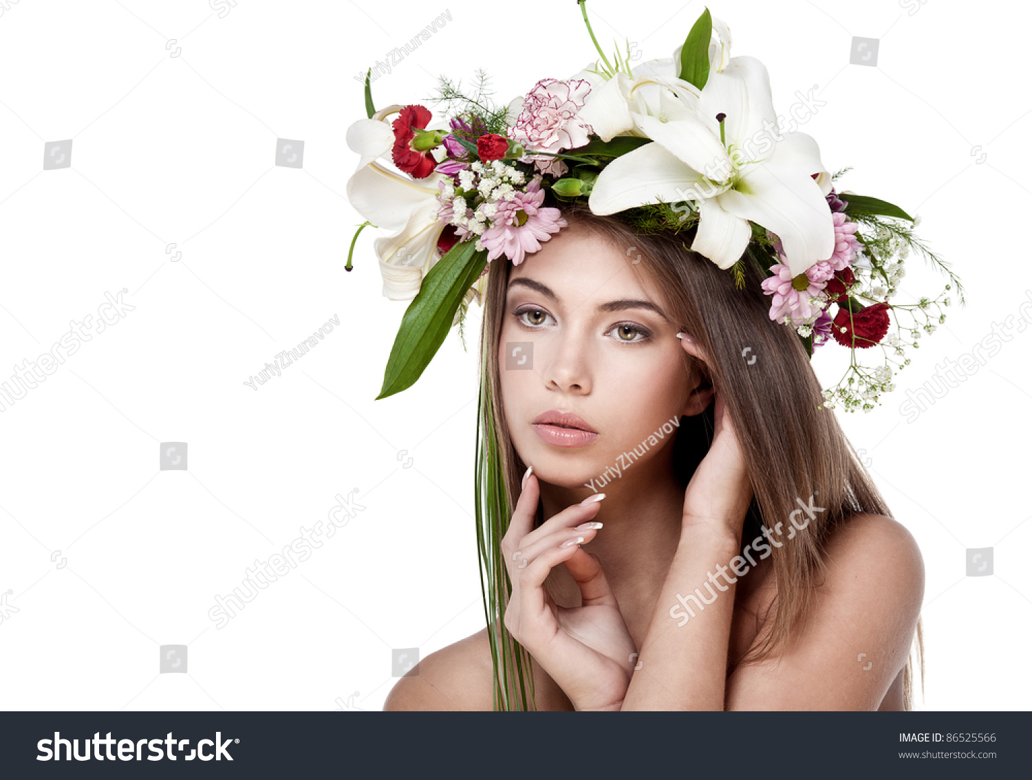 Beautiful woman with flower wreath space for text ez canvas id 86525566 izmirmasajfo