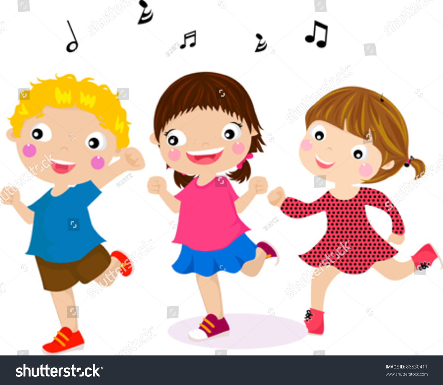 illustration featuring dancing kids stock vector 86530411