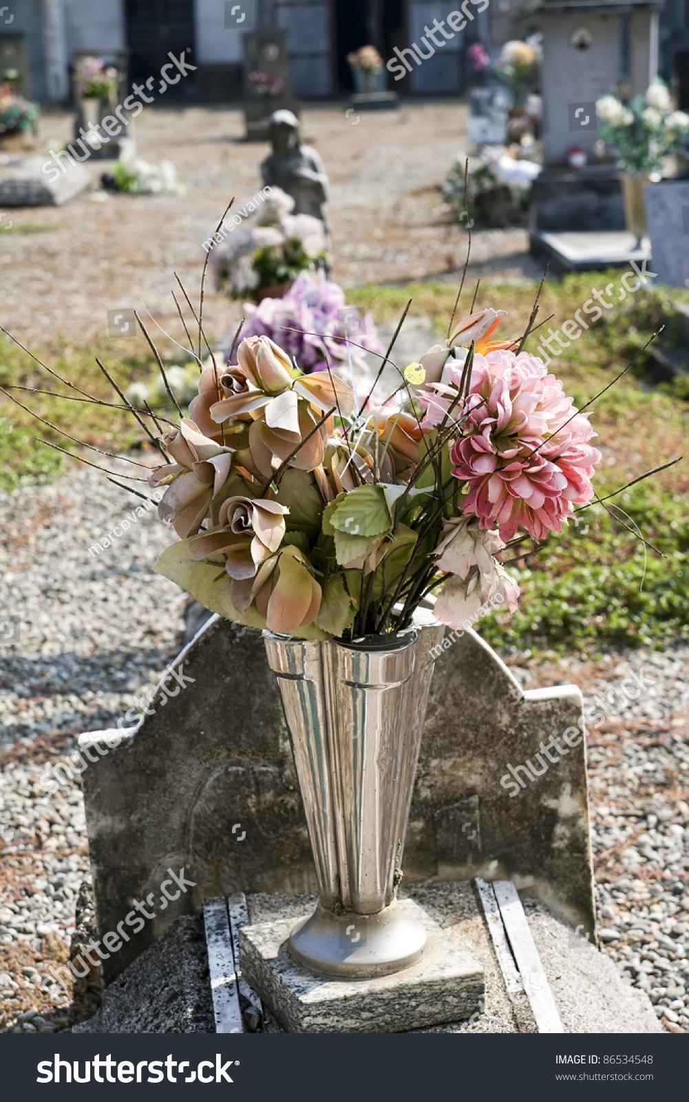 Composition Silk Flower Vase Cemetery Stock Photo Edit Now