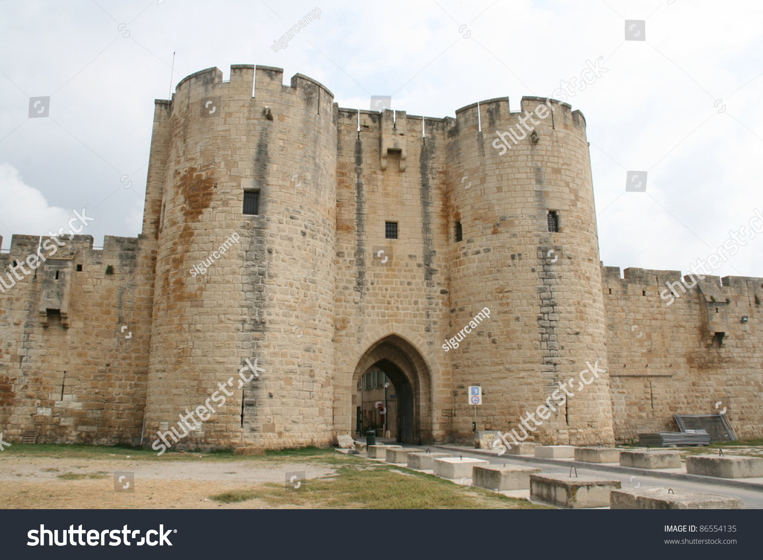 ramparts of the strengthened city of aigues mortes provence france stock photo 86554135. Black Bedroom Furniture Sets. Home Design Ideas