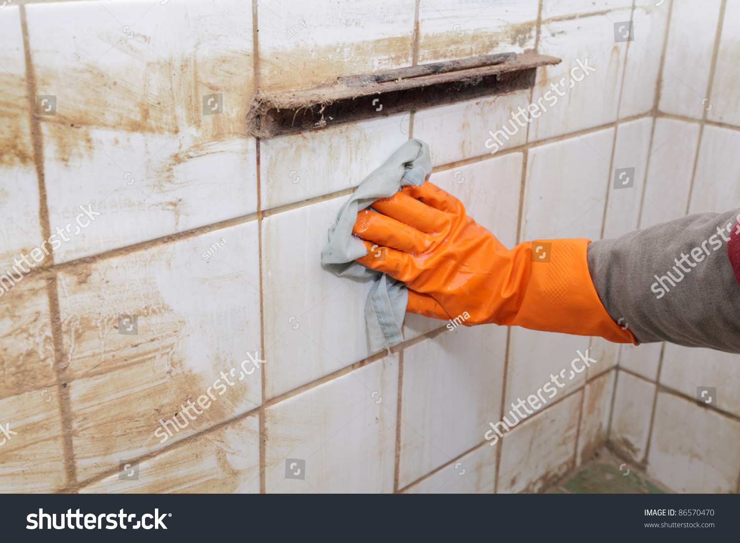 Cleaning of dirty old tiles in a bathroom. Cleaning Dirty Old Tiles Bathroom Stock Photo 86570470   Shutterstock