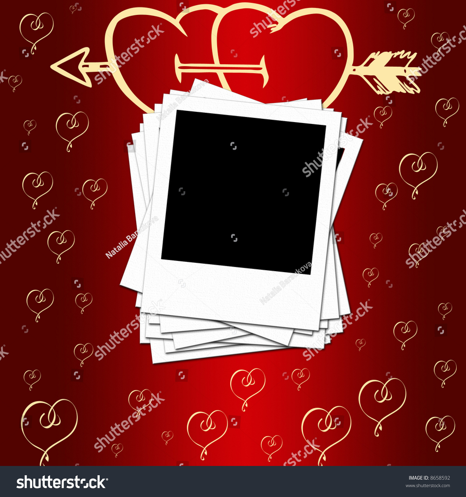 blank photo frames romantic background