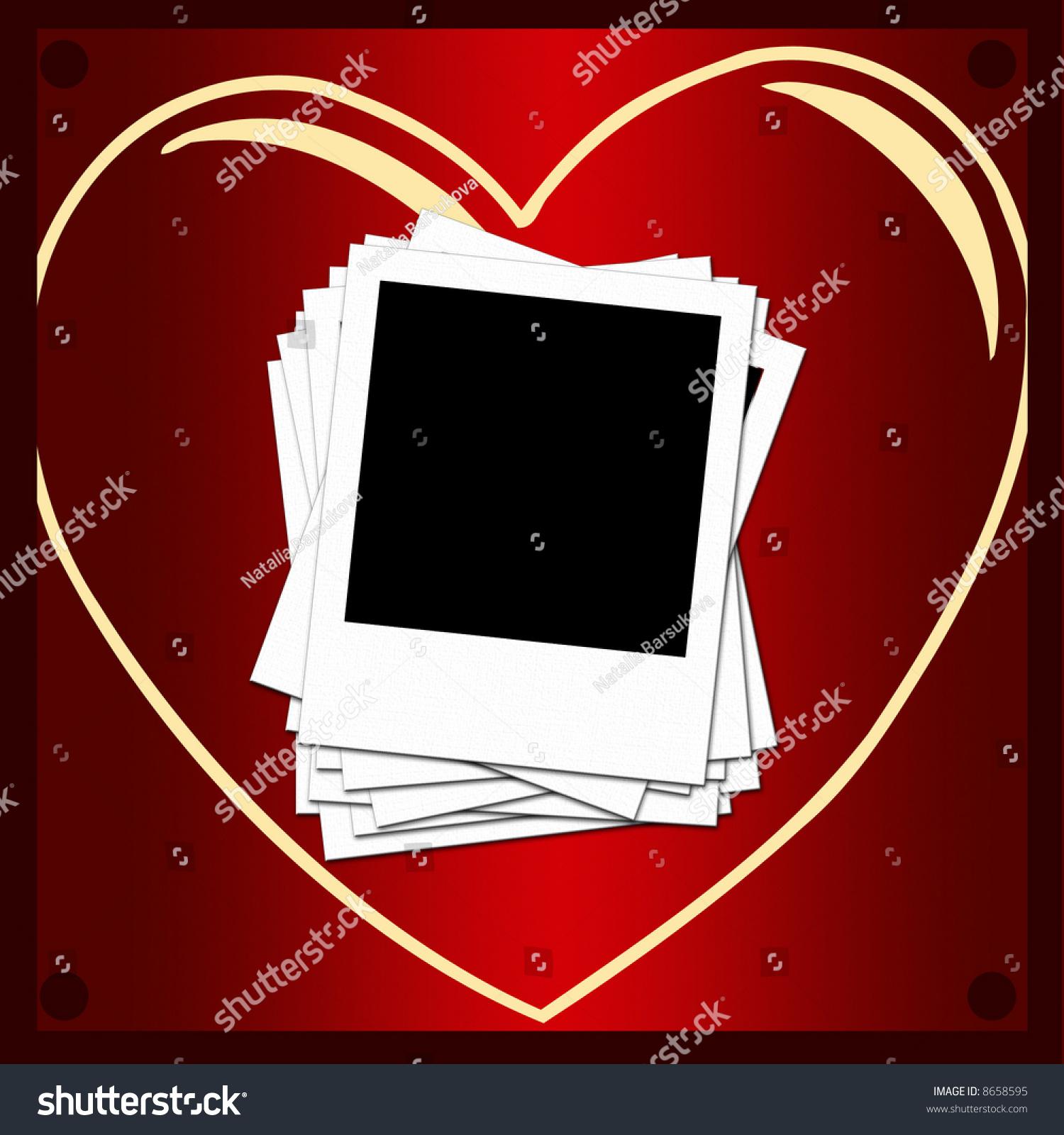 Blank Photo Frames Romantic Background Stock Illustration 8658595 ...