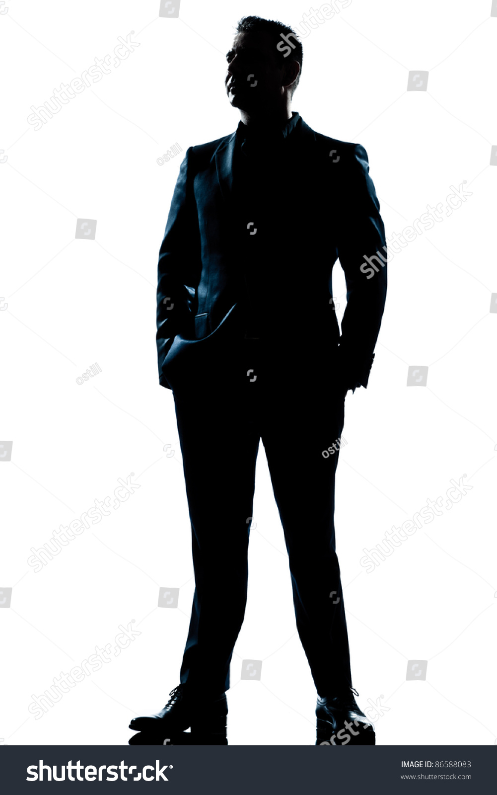 One Caucasian Business Man Handsome Full Suit Standing ...