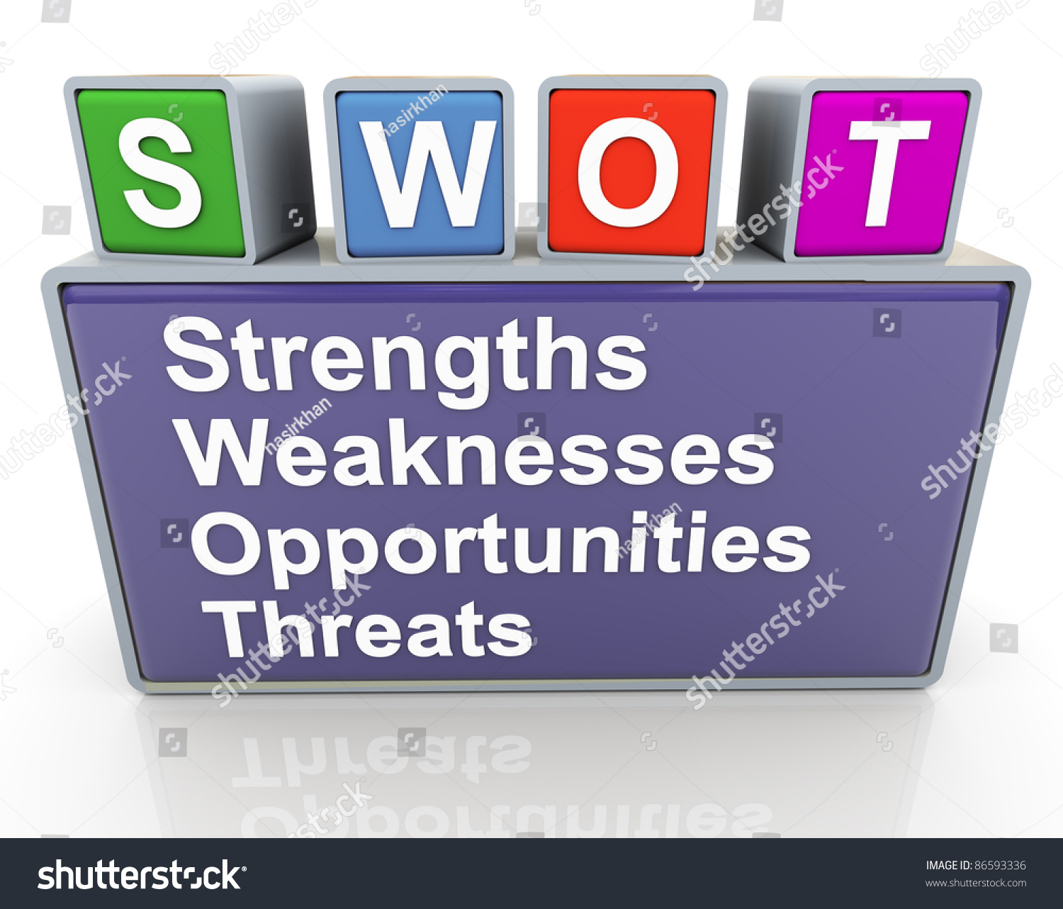 3d colorful buzzword text swot strengths weaknesses save to a lightbox