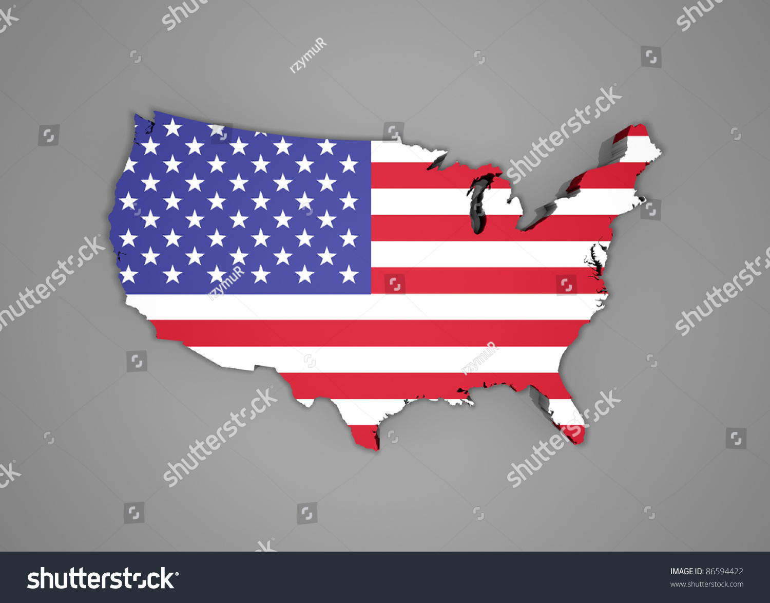 United States Map Flag D Render Stock Illustration - 3d map usa states