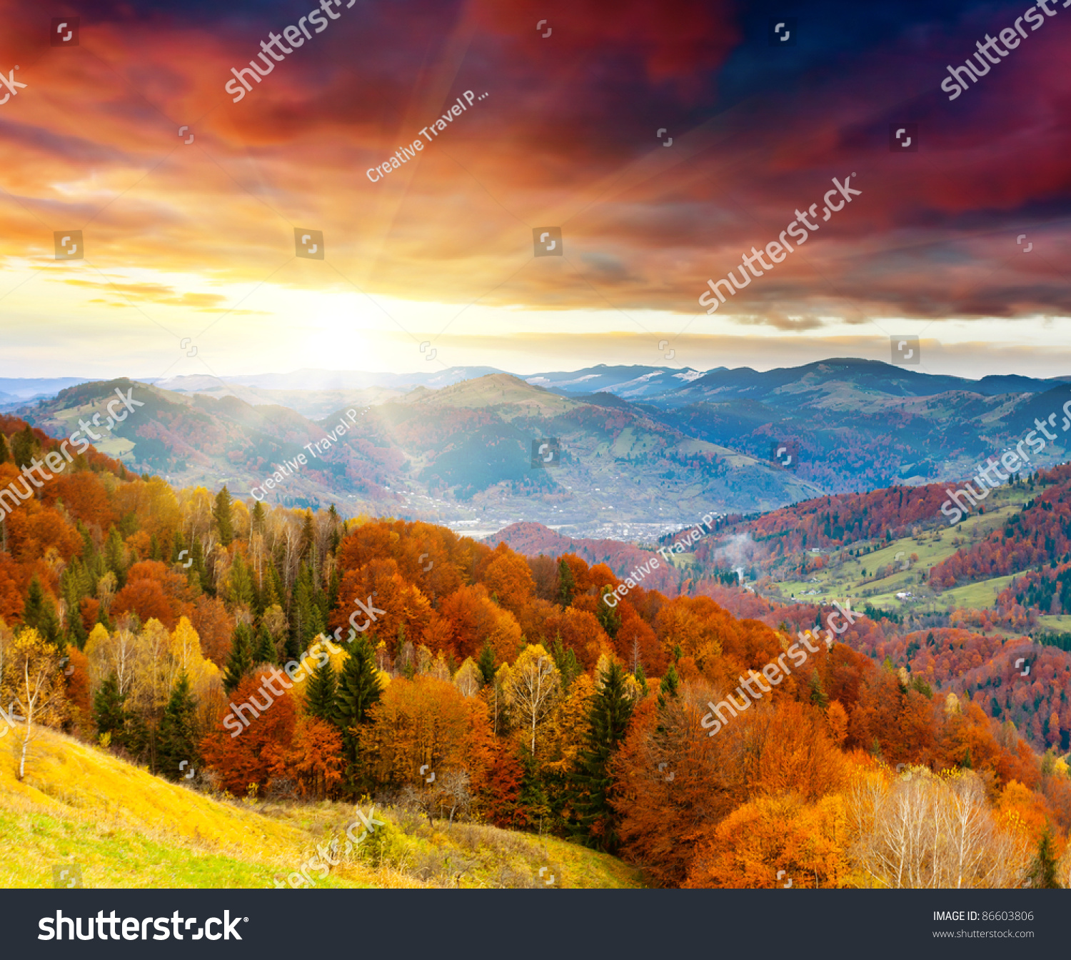 the mountain autumn landscape with colorful forest #86603806