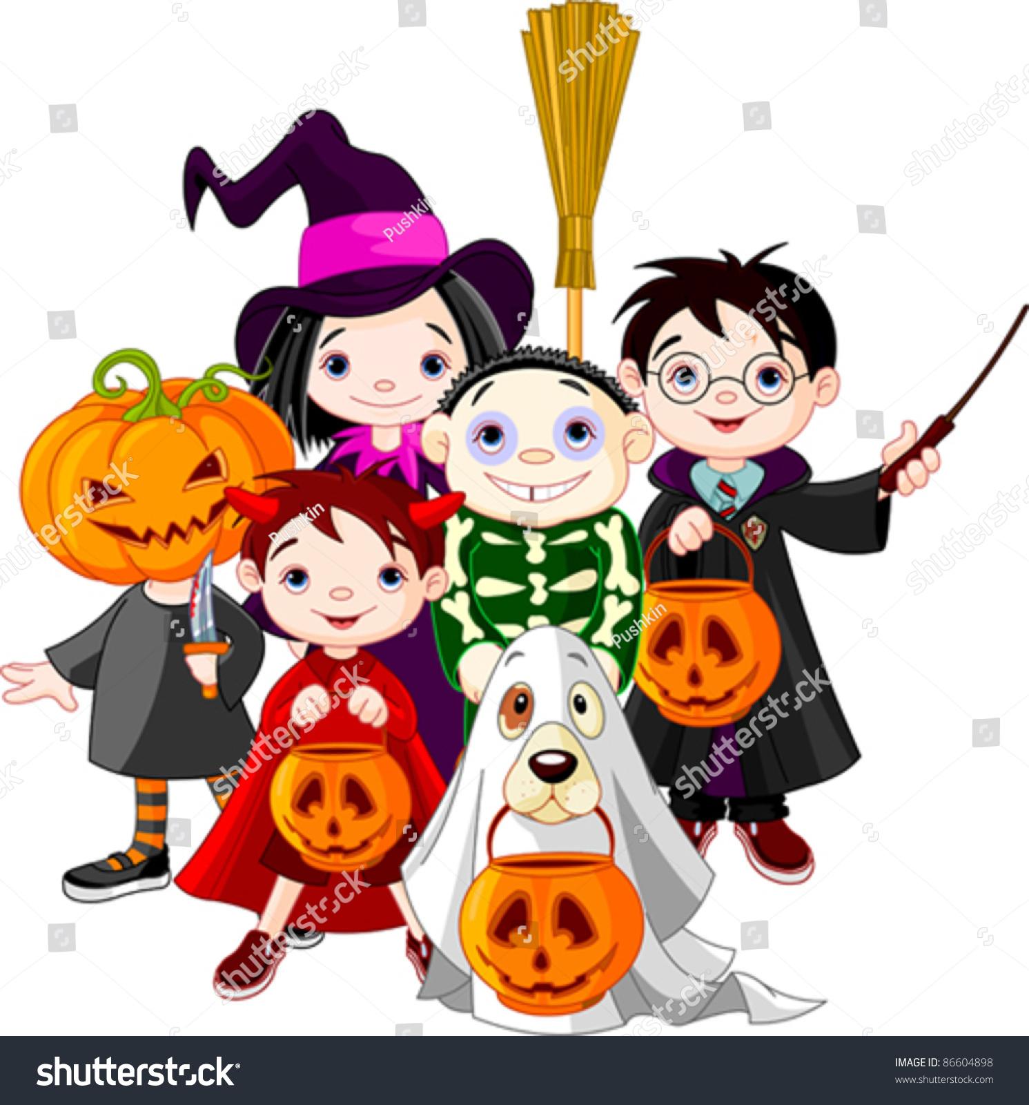 Halloween Children Trick Or Treating In Halloween Costume Ilustración vectorial en stock 86604898  Shutterstock