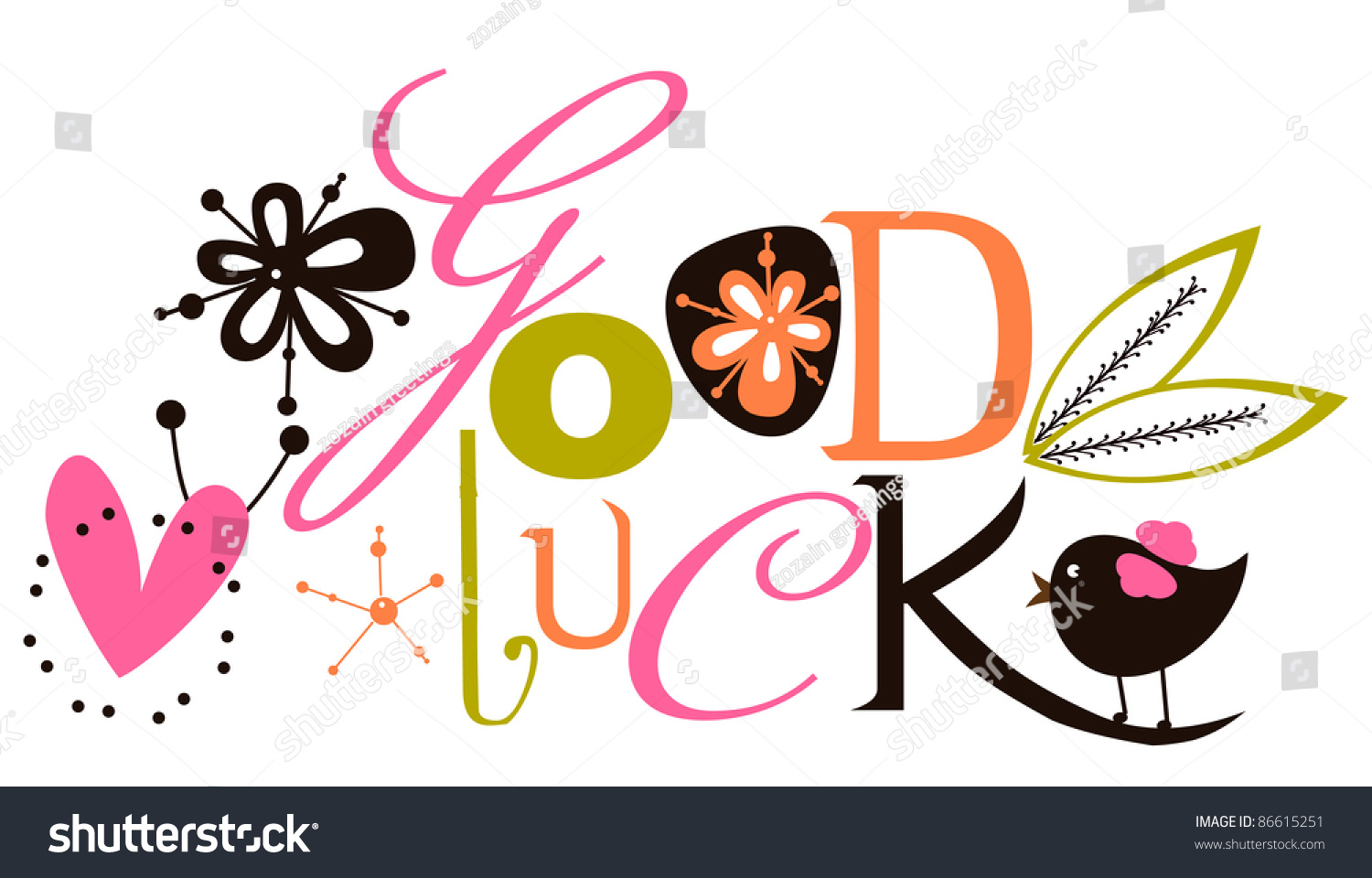 Good Luck Script Card Vector 86615251 Shutterstock – Good Luck Cards to Print