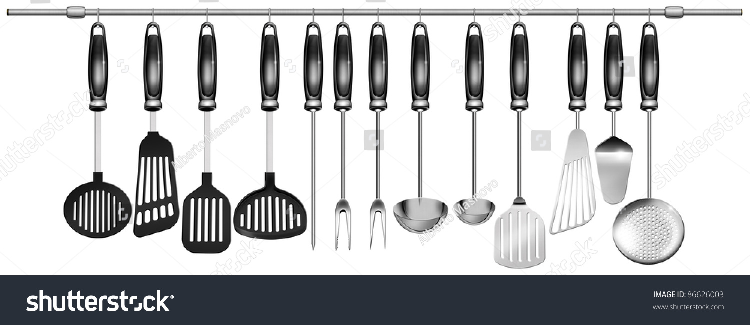 Kitchen Utensils Background illustration 13 kitchen utensils hanging on stock illustration
