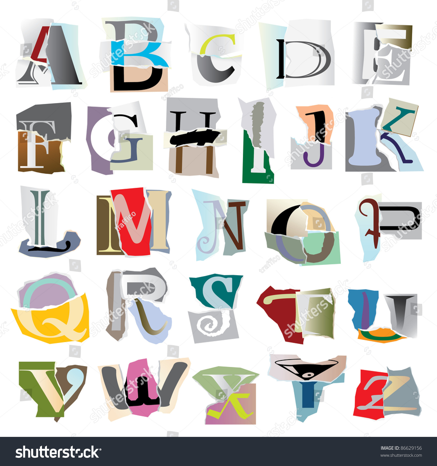 large collage letters based on ripped paper piecesraster version