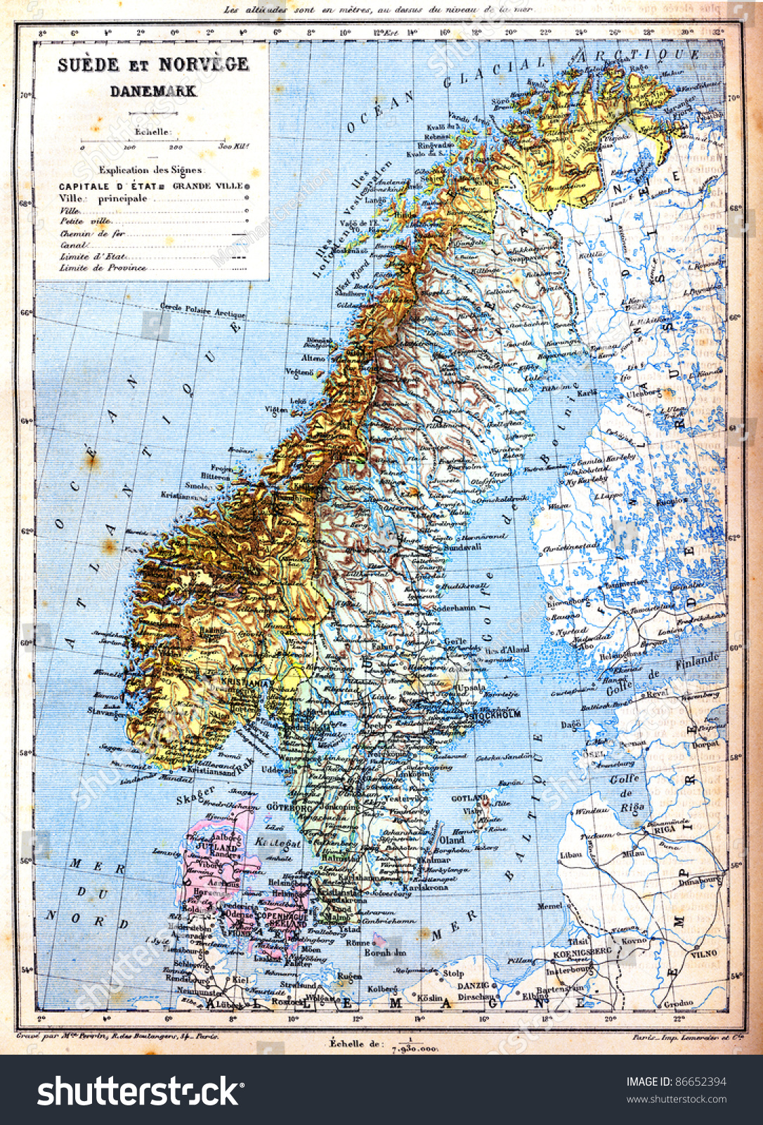 Map Sweden Norway Denmark Explanation Signs Stock Photo - Norway denmark map