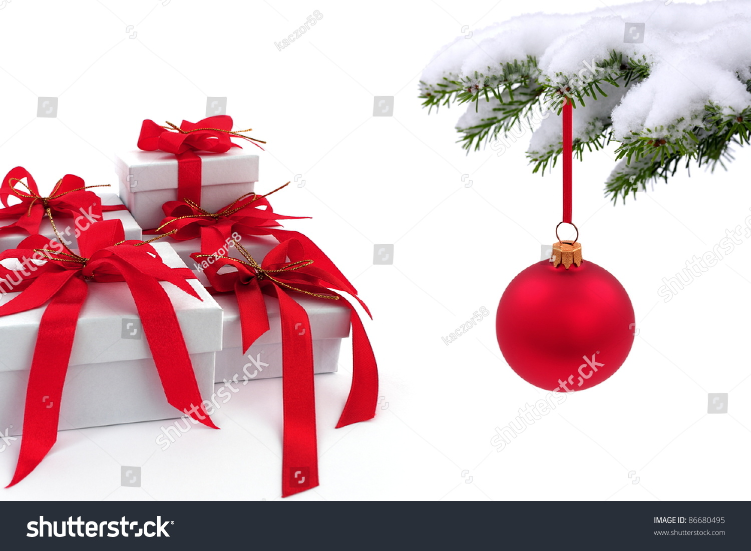 Christmas Tree Over Gift With Red Ribbon Stock Photo