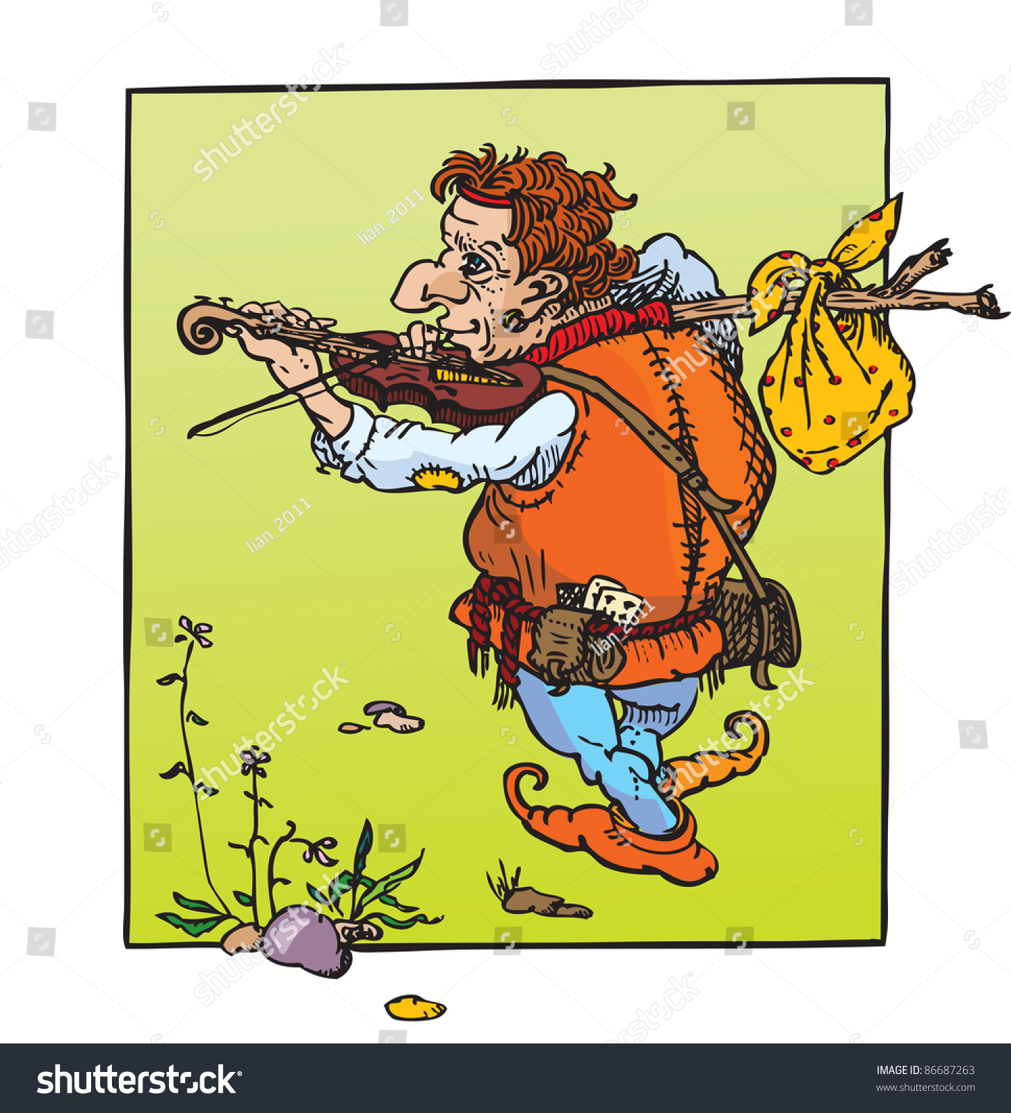 Little Hunchback Playing Violin Fantasy Fairy Stock