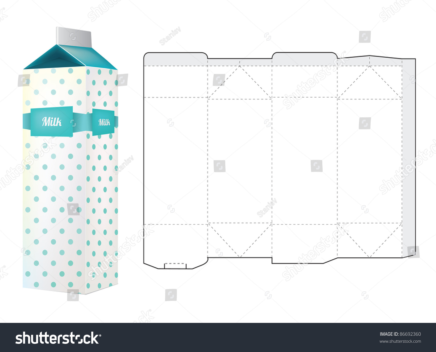 Milk carton template – clipart.